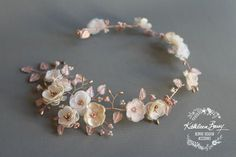 rose gold champagne flower wreath Kathleen Barry Bespoke occasion