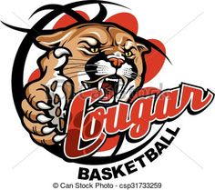 Vector - cougar basketball - stock illustration, royalty free illustrations, stock clip art icon, stock clipart icons, logo, line art, EPS picture, pictures, graphic, graphics, drawing, drawings, vector image, artwork, EPS vector art