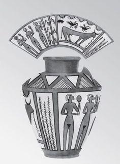 Керамика Джемдет-Наср  глиняный расписной сосуд с человеческими фигурами. Джемдет-Наср. Рубеж IV–III тыс. до н. э.;
