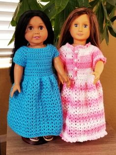 Crochet Dolls Plain or Ruffled Dress- doll - Dress Plain or Ruffled I started crocheting my basic sweater pattern for a teddy bear and decided to keep going and make it into a dress. The kids loved the dress so much, I adapted the pattern for… American Girl Outfits, American Doll Clothes, Baby Doll Clothes, American Girls, Barbie Clothes, Crochet Doll Dress, Crochet Doll Clothes, Crochet Doll Pattern, Gowns