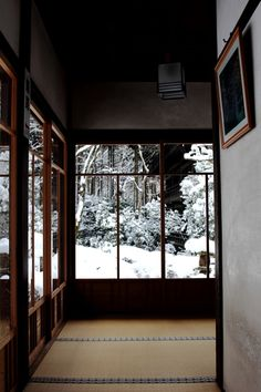 Looking over the winter scenery from Japanese traditional room