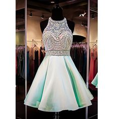 Mint Green Homecoming Dresses,Halter Beading Short Prom Dresses #SIMIBridal #homecomingdresses