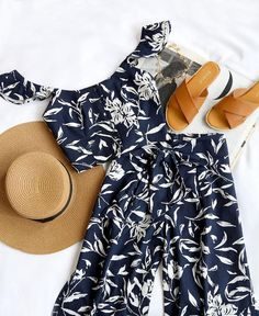 blue two piece, hat, brown shoes