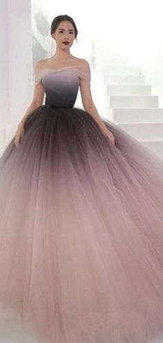 2ce54f8520f Off Shoulder Ombre Purple Pink Tulle Ball Gown Prom Dresses