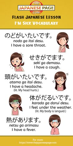 Japanese language learning : Japanese Vocabulary Lesson: How to Say I'm Sick in Japanese - Learn Japanese Language… - PinsTrends Japanese Quotes, Japanese Phrases, Japanese Kanji, Japanese Language Lessons, Japanese Language Proficiency Test, Japanese Sign Language, Chinese Language, German Language, Spanish Language