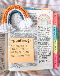 Rainbows: A reminder of God's promise💕🌈 Bible Drawing, Bible Doodling, Bible Verses Quotes, Bible Scriptures, Quotes Quotes, Life Quotes, Bibel Journal, Quotes Arabic, Bible Study Journal