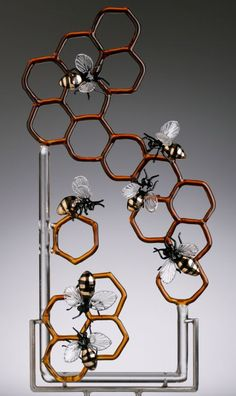 This Bee/Honeycomb art sculpture is made from GLASS (Wow!) - by Jennifer Umphress