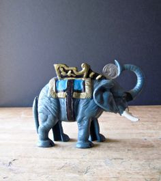 Vintage Cast Iron Mechanical Circus Elephant Coin Bank, Antique Toy Bank Reproduction by RushCreekVintage on Etsy