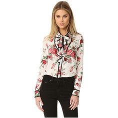 re:named Floral Neck Tie Blouse ($55) ❤ liked on Polyvore featuring tops, blouses, ruffle blouse, ruffle top, tie neck tie, neck-tie and rayon blouses