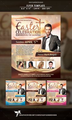 Easter Celebration Flyer (CS, 8.5x11, bible, celebration, christ, church, cross, easter, flyer, Good Friday, gospel, hueyangdesigns, lord, passion, pastor, praise, savior, service, spring, sunday, template, worship)