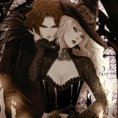Vampire Love, Vampire Art, Witch Aesthetic, Aesthetic Anime, Anime Fantasy, Dark Fantasy, Character Inspiration, Character Art, Witch Drawing