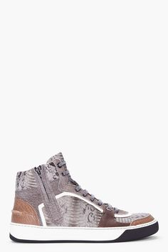 LANVIN grey high-top snakeskin Tennis shoes