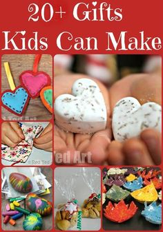 """Gifts Kids Can Make - over 20 Gift ideas for kids. Nothing quite like a HOMEMADE gift at Christmas. Love these ideas. And they are all """"do-able"""" and realistic and yet special gifts for kids to make for a loved one!"""