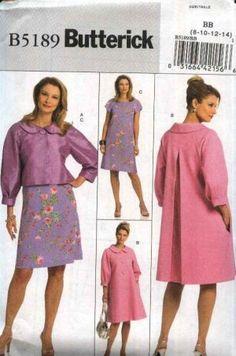 Butterick Sewing Pattern 5189 Misses Size 8-14 Easy Short Jacket Spring Coat A-Line Dress