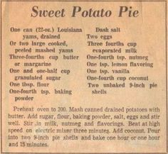 Old-Fashioned Soul Food Recipes Sweet Potato Pie Recipe Clipping Yams Retro Recipes, Old Recipes, Vintage Recipes, Cooking Recipes, Recipies, Soul Food Recipes, Victorian Recipes, Blender Recipes, Kraft Recipes