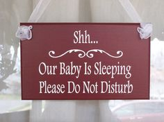 Ok this is a MUST buy! I am always having to write sticky notes that say this for my door so people don't knock/ring doorbell and wake Addison up!