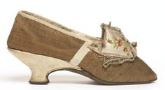 Leather and wool shoe with embroidered satin ribbon trim, French, ca. 1775-85.