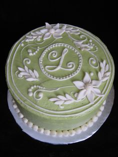 buttercream frosted birthday cake ideas | Sage Green Monogram Cake — Birthday Cakes