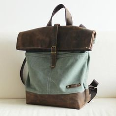 Handcrafted Waxed Canvas Travel Backpack Hiking Rucksack Laptop Backpack 14155