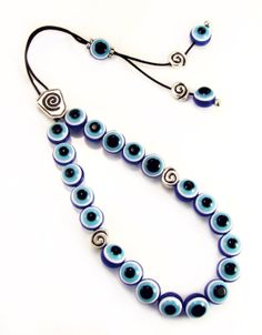 Blue Evil Eye Greek Komboloi Handmade Worry Beads with Spiral Design Metal Master Bead