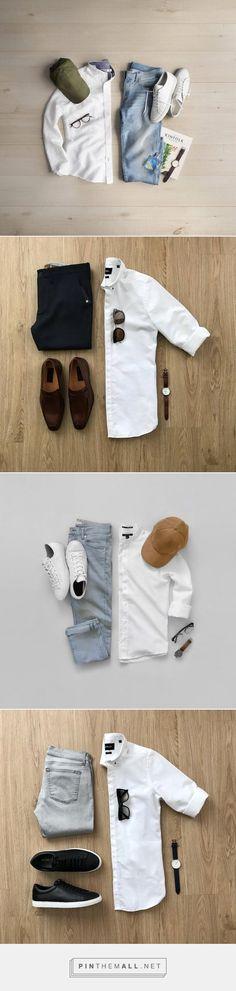 WHITE SHIRT OUTFIT IDEAS FOR MEN #MENSFASHION #FASHION Mens Fashion Blog, Best Mens Fashion, Daily Fashion, Mode Masculine, White Shirt Outfits, Casual Outfits, Casual Wear For Men, Mode Style, Men's Style