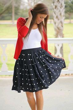 25 classic ladylike looks: summer into falldeep roots at home red polka dot skirt, Dance Outfits, Cute Outfits, Navy Outfits, Skirt Outfits Modest, Work Outfits, Teaching Outfits, Red Cardigan, Inspiration Mode, Look Chic