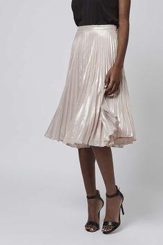 Photo 3 of PETITE Pleated Metalic Midi Skirt