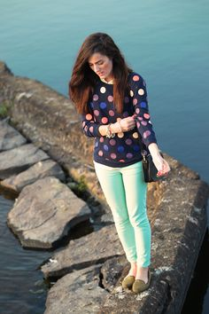 Sweatshirt by Madewell, pants by J.Crew, shoes by Zara, bag by Coach, bracelets by Pink Pineapple. (September 13, 2012)
