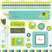 Elementos de design de chuveiro de bebê — Vetor de Stock