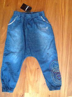 NWT! DESIGUAL Girls Blue Chambray Harem Pants Size 7-8 $69 NEW #Desigual #Harem #DressyEveryday