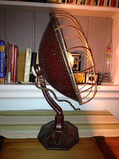 Vintage Metal Table Lamp / Radiant Heater 1920s / Repurposed. $85.00, via Etsy.