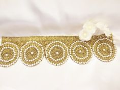 Hand sewn bridal sash in Golden and white.
