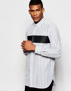 ASOS Shirt With Chest Print And Bold Stripe In Long Sleeve