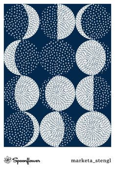 "Sashiko Moon Phases / repeat pattern by Markéta Stengl - Popular repeat pattern in dark blue and white color inspired by a Japanese embroidery called sashiko. The ""stitches"" are hand drawn. Hand Embroidery Stitches, Diy Embroidery, Embroidery Designs, Embroidery Scissors, Machine Embroidery, Embroidery Letters, Embroidery Supplies, Embroidery Needles, Embroidery Fashion"