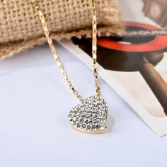 18K GOLD GF micro Pave CZ WEDDING LADY SOLID LOVE HEART NECKLACE PENDANT GWD029
