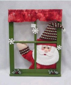 Window Decorations for Christmas : Crafty Christmas Window Crafthubs Christmas Window Decorations, Santa Decorations, Christmas Frames, Office Christmas, Christmas Signs, Christmas Projects, Christmas Time, Christmas Wreaths, Christmas Ornaments