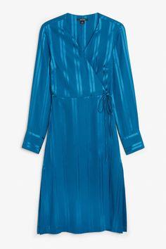 Front image of Monki long wrap dress in blue