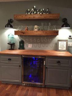 rustic bar with ikea cabinets and beverage center basement bar do Rustic Bar, Kitchen Bar, Beverage Center, Home Remodeling, Basement Bar Designs, Bars For Home, Ikea Cabinets, Rec Room Basement, Mini Bar