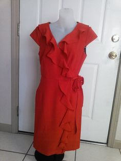 Beautiful Size 6 New directions Red ruffed wrapped Dress/Cap Sleeves EUC #NewDirections #WrapDress #WeartoWork