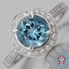 Art Deco Aqua Engagement Ring