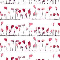 Stoff Blumen - Baumwollstoff Mohnblumen - ein Designerstück von Puksie bei DaWanda