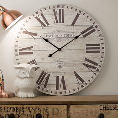 70cm CAFE DE LA TOUR Timber Rustic Wall Clock Industrial Round Vintage Wooden