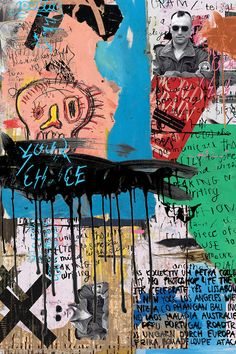 A Lower Eastside Memory by PinkPankPunk is printed with premium inks for brilliant color and then hand-stretched over museum quality stretcher bars. Money Back Guarantee AND Free Return Shipping. Collage Design, Collage Art, Collage Vintage, Jm Basquiat, Jean Michel Basquiat Art, Arte Punk, Plakat Design, Retro Wallpaper, Psychedelic Art