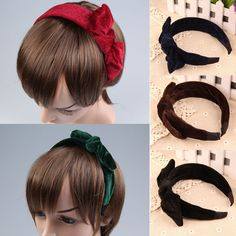 Women's Hair Headbands Korean Elegant Ladies Velvet Bow-Tie Headband All-match Hairband Hair Ornaments 5 Colors E#CH