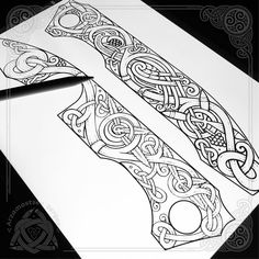 Celtic bird and tree of life - sketch for engraving on knife handle (iPad Pro & Apple Pencil in Procreate, workflow) collaboration with…