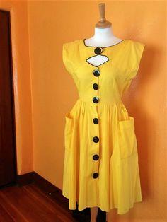 Day Dresses, Summer Dresses, Button Dress, Vintage Dresses, Fashion Dresses, High Neck Dress, Short Sleeve Dresses, Yellow, Womens Fashion