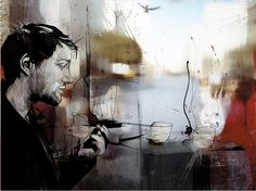 Mixed Media Illustration by UK artist Russ Mills Amazing Paintings, Amazing Art, Awesome, Encaustic Art, Art And Architecture, Cool Artwork, Love Art, New Art, Graphic Art