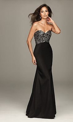 Beading long black dress