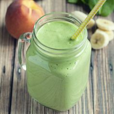 Filled with delicious fruits and veggies, this banana peach green smoothie will have you wanting more of the green goodness!