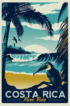 Costa Rica Retro Vintage Travel Poster Toucan Wave Surf Palm Trees Screen Print - Etsy
